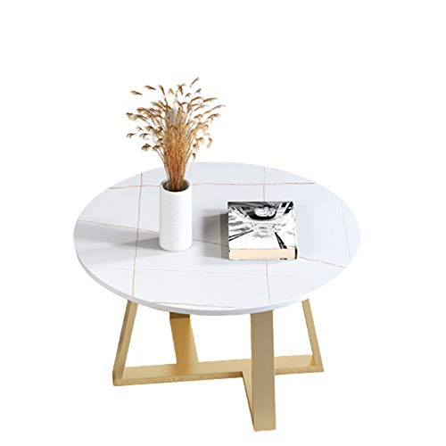 Fanuosuwr Elegant Tatami Coffee Table Nordic Rock Board Coffee Table Home Sofa Round Side Table Hotel Golden Iron Art Small Coffee Table Home Gifts (Color : White, Size : 80x80x45cm)