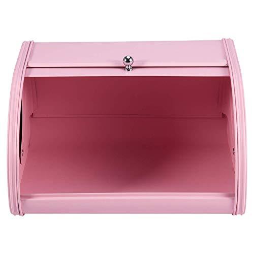 Roll Top Metal Flip-Baked Bread Box,Bread Bin Kitchen Food Holder,Vintage Bread Box Storage Bin,with Roll Top Lid Kitchenware Storage Box (Color : Pink)