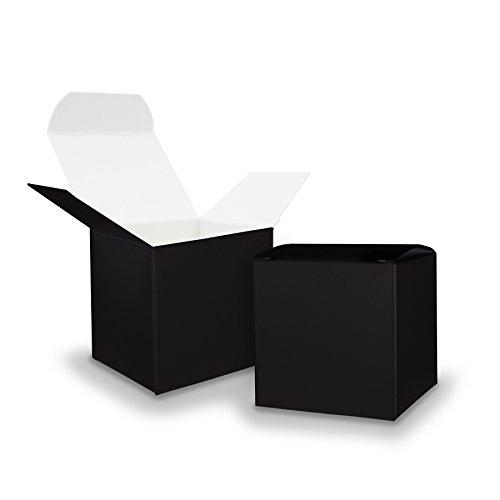 50x itenga GeschenkSchachtel aus Karton zum Befüllen (Adventskalender Gastgeschenk, Hochzeit Taufe Geburt) (Würfel 6,5x6,5cm, schwarz)