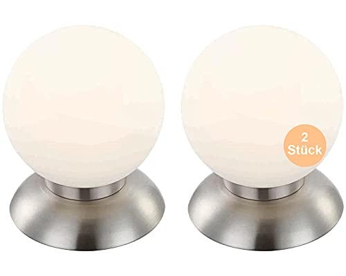 Nachttischlampe 2er Set Touch - LED Tischlampe 2 Stück Kugel - Tischleuchte mit Touchfunktion - Nachttischleuchte Schlafzimmer - Leuchtmittel 3 Watt Warmweiß - 15 x 15 cm