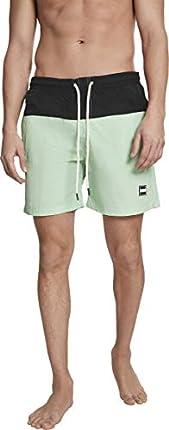 Urban Classics Block Swim Shorts Pnt, Pantalones Cortos para Hombre, Multicolor (Black/Neomint 01691), X-Small