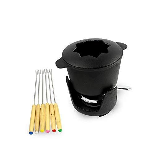 HELEN CURTAIN Cerámica Redondo Chocolate Fundido Junto Pot Hielo DIY Hot Pot Queso Suizo Queso Hot Pot,Negro