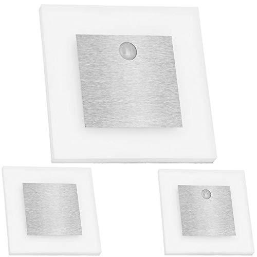 LEDANDO Set LED Treppenbeleuchtung Warmweiß 3000K inklusive Zwei Einheiten mit Bewegungsmelder und 15W Trafo, Set:3er Set inkl. 2 x Sensor
