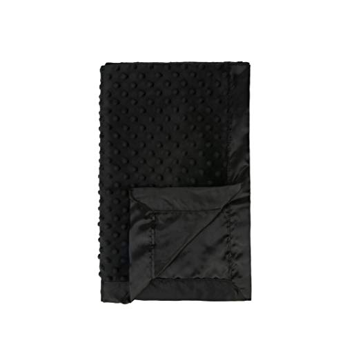 Pro Goleem Baby Soft Minky Dot Blanket with Satin Backing Gift for Boys and Girls (Black, 30'' x 40'')