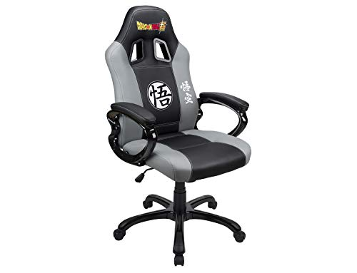 Gaming bucket seat – DBZ gamer armchair with ergonomic seat - Swivel office and game chair - Official Dragon Ball Super license – Black and grey chair gaming gray