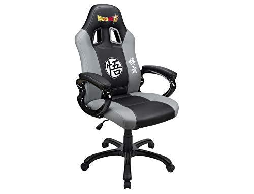 Siege gaming baquet - Fauteuil gamer DBZ avec assise ergonomique - Chaise de bureau et de jeu pivotante - Licence officielle Dragon Ball Super – Noir et Gris