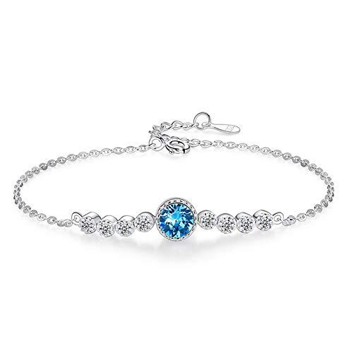 1 pulsera para mujer con cristales austriacos, color azul, plata, para regalo para mujer