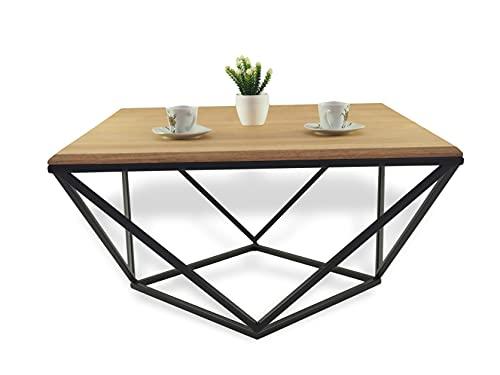 Lumarc Siena, Couchtisch aus Massivholz Natur Eiche im Industrial Minimalistisch Design, Quadratisch, 75x75x40 cm (Schwarz)