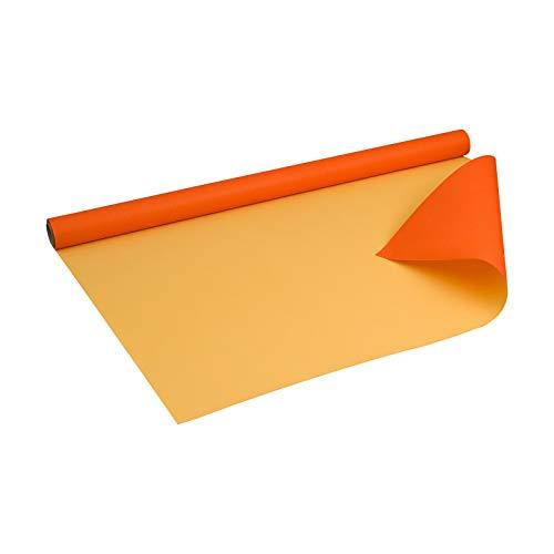Geschenkpapier Orange und Gelb, zweiseitig bedruckt Kraftpapier, gerippt, 60 g/m², Geburtstagspapier, Weihnachtspapier - 1 Rolle 0,8 x 10 m