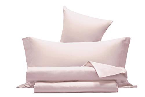 Completo letto lenzuola in raso di puro cotone Made in Italy MATRIMONIALE GRIGIO PERLA