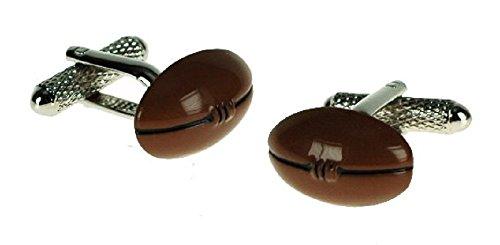 Onyx-Art London CK638 Boutons de manchette en forme de ballon de rugby dans une boîte cadeau