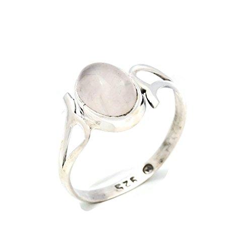 Ring Silber 925 Sterlingsilber Rosenquarz rosa Stein (Nr: MRI 141), Ringgröße:52 mm/Ø 16.6 mm