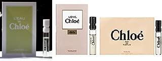 Chloe Fragrance perfume sampler kit collection for her WOMEN (Chloe Eau de Parfum 0.04 oz + Love, Chloe Eau de Parfum 0.04 oz + L'eau de Chloe Eau De Toilette 0.04 oz)- 3 sample set