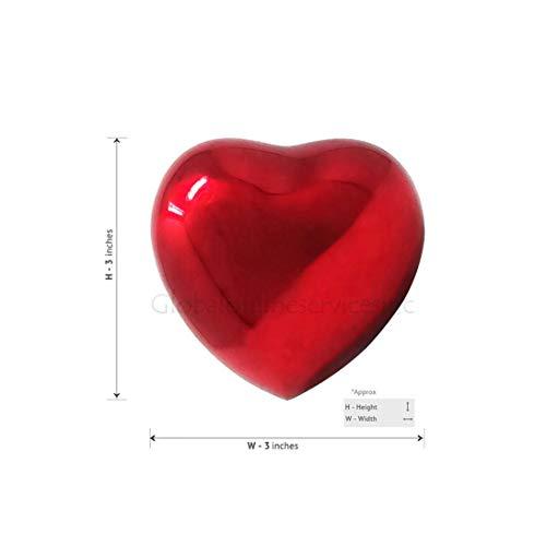 Urna conmemorativa de corazón rojo para cenizas, Urna de corazón de cremación de latón