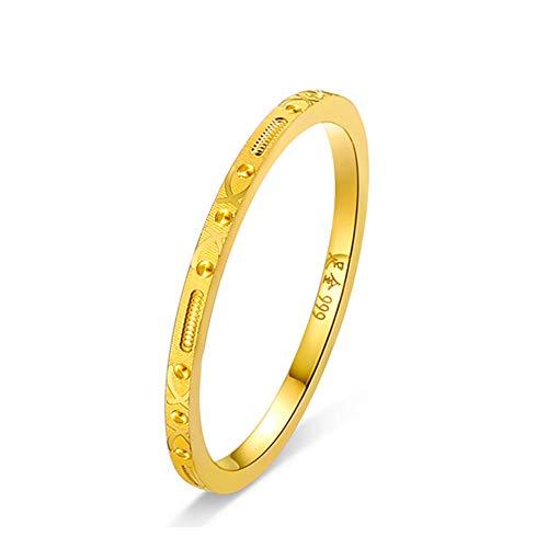 Oro Anillo De Boda Anillo para Hombres Mujeres, Oro Amarillo De 24 Quilates Compromiso Promesa Anillos con Caja De Regalo De Joyería