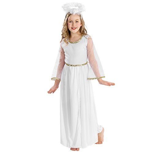 TecTake Mädchenkostüm Zauberhafter Engel | Kleid in Wickeloptik | Heiligenschein und schöne Federn (5-7 Jahre | Nr. 300222)