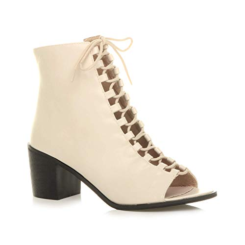 Damen Mittlerer Blockabsatz Schnür-Pumps Peeptoes Stiefeletten Schuhe Größe 3 36