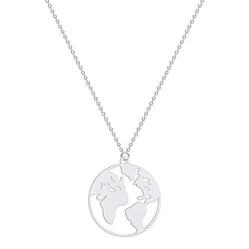 AILUOR Mujeres Hombres Mapa del Mundo Collar Geométrico Globo terráqueo Mapa Colgante Madre Tierra Collar Viaje de Larga Distancia Graduación Regalo