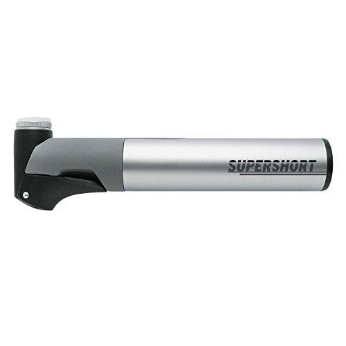 SKS GERMANY SUPERSHORT Minipumpe für Fahrräder (Fahrradpumpe mit Teleskopfunktion, abnehmbares Aluminiumrohr und ergonomischer T-Griff, geeignet für alle Ventilarten, inkl. Pumpenhalterung), Silber