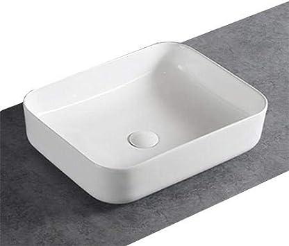 Bonde Pop-Up:Avec couvercle suppl blanc brillant Couleur:Blanc brillant Lave-mains /à poser en c/éramique sanitaire KW6127-50 x 39 x 13 cm Couleur en option