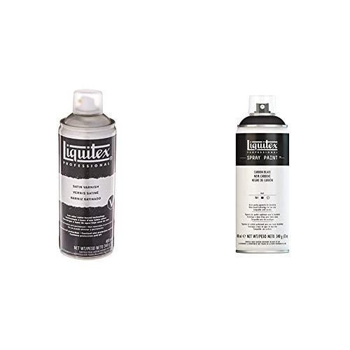Liquitex Professional - Barniz satinado en spray, 400ml + Professional - Acrílico en spray, 400ml, negro carbon