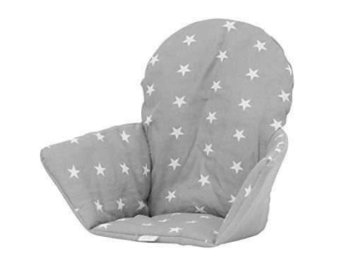 Polini Kids Sitzkissen Sitzeinlage für Ikea Antilop Sterne grau Wird über die Rückenlehne des Hochstuhl gezogen, so ist es s.