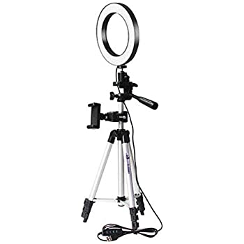 """LED Ring Light 6"""" with Tripod Stand & Flexible Phone Holder for Selfie Photography Makeup Live Stream Dimmable 3 Light Modes 10 Brightness Level"""