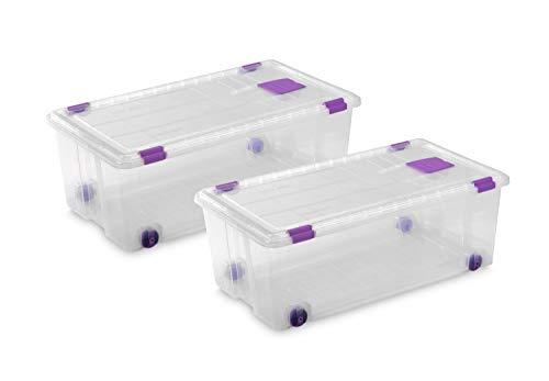TODO HOGAR - Caja Plástico Almacenaje Grandes Multiusos con Ruedas - Medidas 730 x 405 x 265 - Capacidad de 62 litros (2)