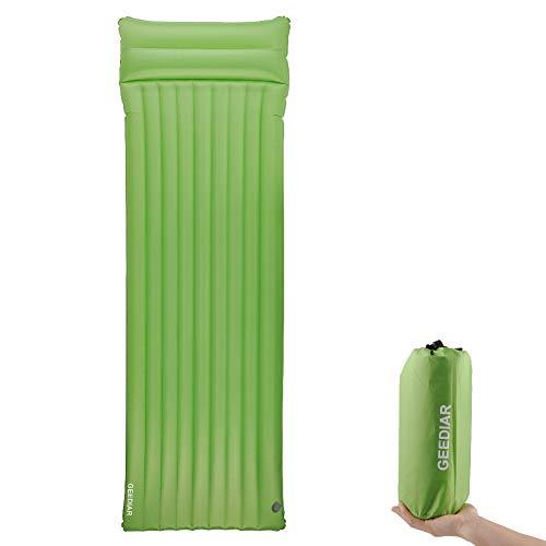 GEEDIAR Isomatte Camping aufblasbare Matratze mit Kissen 195x60x 9 cm Dicke Luftmatte Outdoor Ultraleicht kleines Packmaß Farbe grün