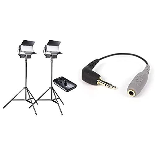 Walimex pro LED Sirius 160 Daylight 2er Set mit Stativ + Fernbedienung - 2X 65W Daylight Flächenleuchte, Studioleuchte, 2X 65 Watt 6000 Lumen, 5600K & Rode TRRS auf TRS Adapter schwarz