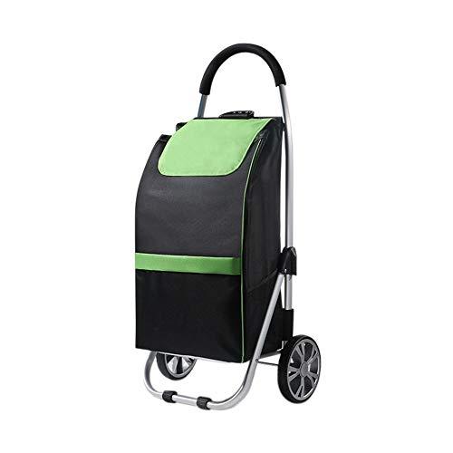 Supermarkt-Einkaufswagen Aluminium-Regal Einkaufswagen Oxford Stoffbeutel Zugstange Einkaufswagen tragbare schwarz GW (Farbe : Green)
