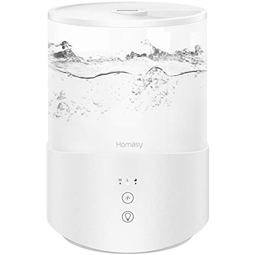 Homasy Cool Mist Humidifier Diffuser, 2.5L Essential Oil Diffuser, Top Fill Humidifier for Bedroom, Home and Office, Baby Humidifier with Adjustable Mist Output, Sleep Mode, Auto Shut Off