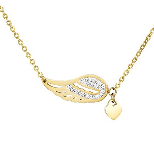 Morella Collar Mujeres con Colgante Alas de ángel y corazón de Acero Inoxidable Oro en Bolsa de Terciopelo