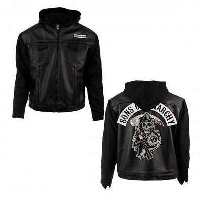 Sons of Anarchy - Giacca da motociclista in pelle con cappuccio serie TV Nero XL