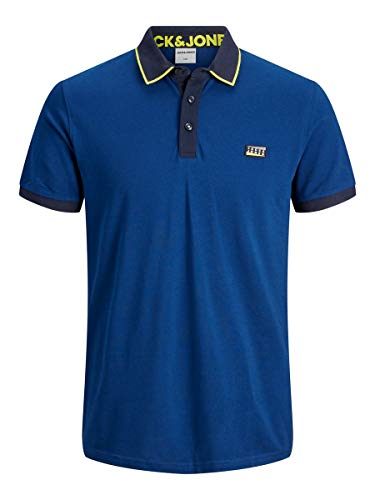 JACK & JONES JCOCHARMING Polo SS Noos Camiseta, Azul (Marino), L para Hombre