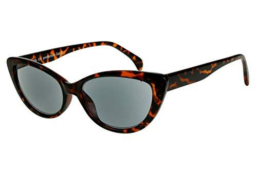 Leesbril met dioptrieën voor vrouwen Cateye Cat Design met case bruin zwart transparant glanzend plastic 1.0 1.5 2.0 2.5 3.0 3.5 Dioptrien 2.5