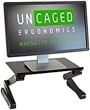 WorkEZ Monitor Stand ergonomic adjustable height and angle single computer monitor riser. Portable folding aluminum holder mount for desktop pc monitors screens organizer black