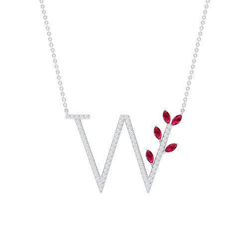 Colgante con nombre inicial antiguo, letra W, colgante de alfabeto, colgante de rubí creado en laboratorio de 0,65 ct, colgante de diamante HI-SI de 0,54 ct, colgante floral de boda 10K Oro blanco