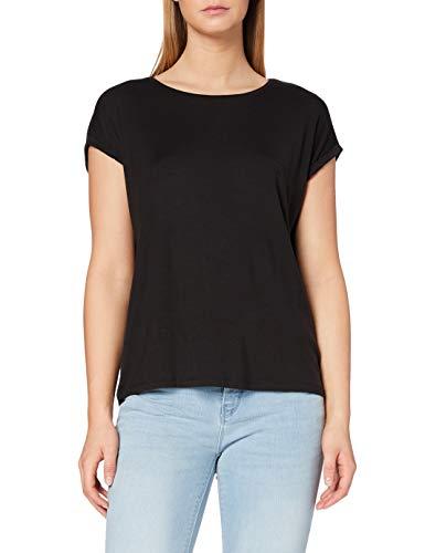 VERO MODA Vmava Plain Ss Top Ga Noos, Camiseta para Mujer, Negro (Black Black), 40 (Talla del fabricante: Large)