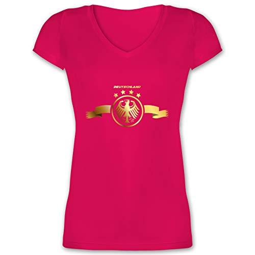 Fußball-Europameisterschaft 2021 - Deutschland Adler Gold - 3XL - Fuchsia - Deutschland t-Shirt schwarz - XO1525 - Damen T-Shirt mit V-Ausschnitt