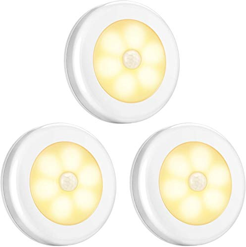 Nachtlicht mit Bewegungsmelder, Selbstklebende Bewegungslicht, Auto ON/Off LED Magnetischer Bewegungssensor Licht 6 Ultrahelle LEDs, Schrankleuchten für Flur, Küche, Schlafzimmer (Warmes Weiß-3PCS)