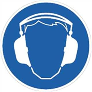 Aufkleber Gebotsschild Gehörschutz benutzen 5cm Durchmesser Folie, 10 Stück