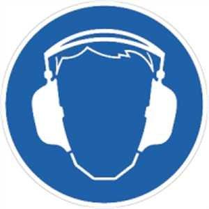 Sticker pictogram gehoorbescherming dragen folie 2cm Ø 10 pictogrammen