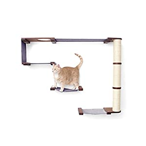 CatastrophiCreations Cat Mod Climb Track Handcrafted Wall Mounted Cat Tree Shelves, English Chestnut/Black, One Size