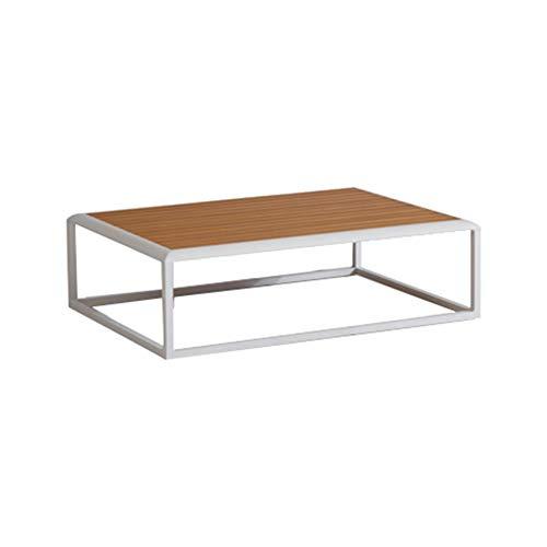 Meubletmoi - Mesa baja de jardín moderna con estructura de aluminio blanco y tablero de madera, 35 x 114 x 80 cm – Rise