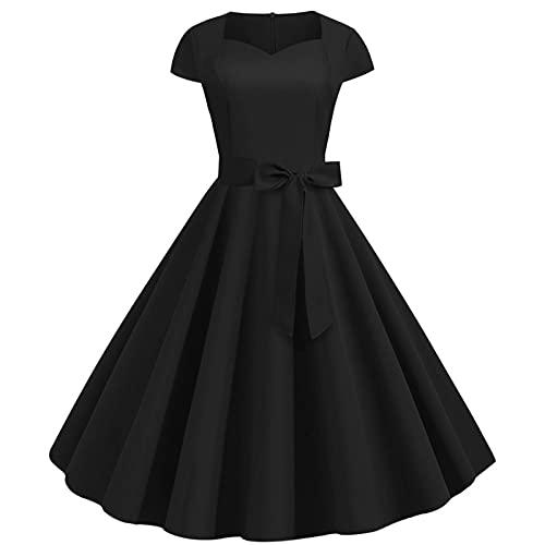 Vestido de cóctel para mujer de los años 50, estilo retro rockabilly con alas y longitud hasta la rodilla, elegante, vestido de noche, color rojo, negro, amarillo y rojo Negro XXL