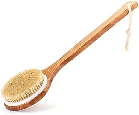 Bath Body Brush Long Handle Bath Back SPA Clean Bath Brush Natural Bristle Shower Brushes Improves Blood Circulation,...