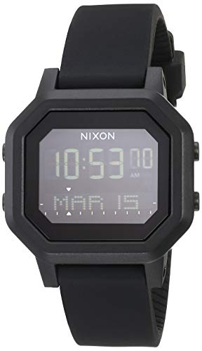 NIXON Siren A1210 - All Black - 100m Water Resistant Women's Digital Sport Watch (38mm Watch Face, 18mm-16mm Pu/Rubber/Silicone Band)