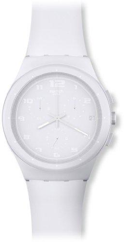 Swatch SUSW400 - Reloj cronógrafo de Cuarzo Unisex con Correa de Silicona, Color Blanco