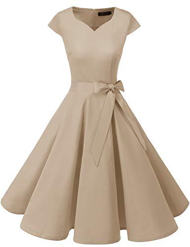 DRESSTELLS Damen 50er Vintage Retro Cap Sleeves Rockabilly Kleider Hepburn Stil Cocktailkleider Champagne S